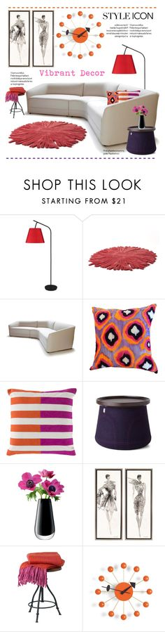 """""""Vibrant Home Decor.."""" by vkevans ❤ liked on Polyvore featuring interior, interiors, interior design, home, home decor, interior decorating, Lights Up!, Nodus, Dot & Bo and LSA International"""