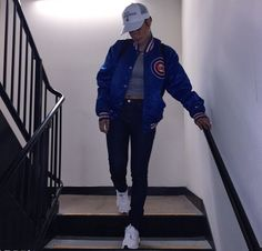 (Cold & 50/50) Tomboy // White Hat, Grey T-Shirt, Red, White, & Blue Bomber Jacket, Black Jeans, White Sneakers