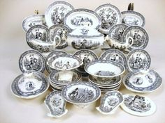 Antique toy Staffordshire transfer ware child's tea set