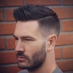 Spiky Crew Cut with Part and Faded Sides