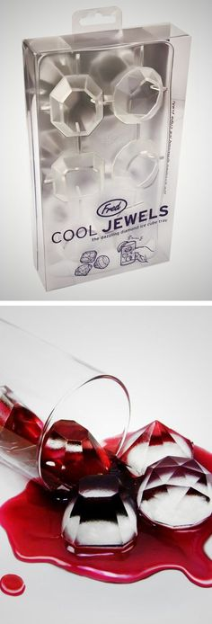 Fun diamond ice tray // Love this! Perfect for a NYE glam party... Cool jewels #product_design