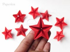 Origami Paper star ornaments - Set of 8 red Christmas star origami ornaments, by Paperica on Etsy