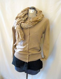 1960s Size Small Knit Cardigan: tan sweater ban by TopDrawerFinds