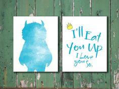 "Where the Wild Things Are ""I'll Eat you up I love you so"" art print baby nursery kid children decor blue // custom colors CheekyAlbi, $28.00"