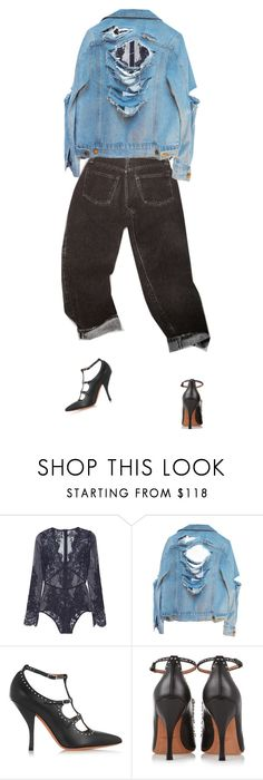 """denim & lace."" by sharplilteeth ❤ liked on Polyvore featuring I.D. SARRIERI and Givenchy"