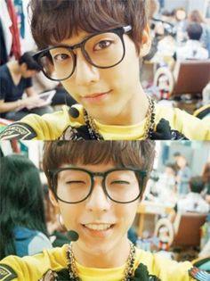 Why can all idols pull off nerd glasses Btob Changsub, Btob Minhyuk, Im Hyunsik, Yook Sungjae, Selca, Super Junior Donghae, Lee Hyun Woo, U Kiss, Gangnam Style