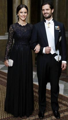 Prince Carl Philip and Sofia Hellqvist attend a gala dinner at Sweden's Royal Palace on Feb 11, 2015.