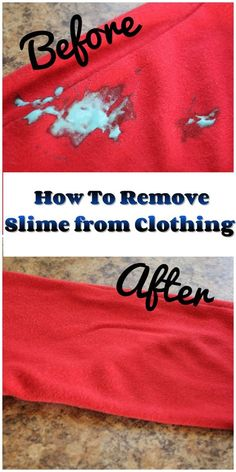 How to Remove Slime from Clothes~This is the EASIEST way to remove slime from clothing Deep Cleaning Tips, House Cleaning Tips, Spring Cleaning, Cleaning Hacks, Cleaning Products, Cleaning Solutions, Cleaning Supplies, Hardwood Floor Cleaner, Homemade Toilet Cleaner