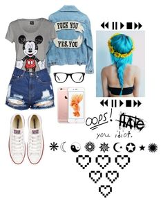 """Idiot"" by thaisa-tcs ❤ liked on Polyvore featuring Disney, Converse, Muse and Retrò"