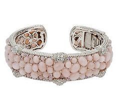 Judith Ripka Sterling Aurora Pink Opal and Diamonique Thin Hinged Cuf Judith Ripka, Pink Opal, Qvc, Pastel Pink, Pretty In Pink, Cuff Bracelets, Jewelry Accessories, Bling, Jewels