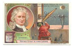Newton - Observation éclipse lune - Astronome  - Chromo Liebig - Trade Card