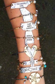 Vintage stamped state bracelets! Quick ship!
