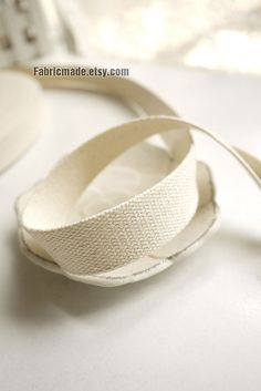Cotton bag handle Natural White Cotton Webbing Bag by fabricmade