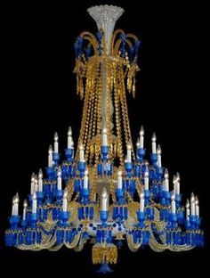 Chandelier; Baccarat Glass, Starck (Philippe), Zenith Long, Blue & Amber, 48-Lights, Spear Prisms, 78 inch.