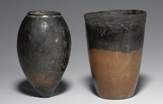 TWO EGYPTIAN BLACK-TOPPED POTTERY JARS PREDYNASTIC PERIOD, CIRCA 3200 B.C.