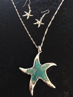 Star Fish With Necklace And Earring Set With Aqua Sea Glass Made Of Sterling Silver by venicebytheseajewels on Etsy Starfish Necklace, Turtle Necklace, Necklace Set, Arrow Necklace, Pendant Necklace, Anchor Earrings, Sea Jewelry, Sea Glass, Earring Set