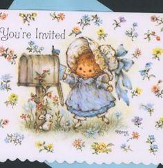 MARY-HAMILTON-SUNBONNET-GIRL-MAILS-PARTY-INVITATION-BUNNY-BIRD-GREETING-CARD