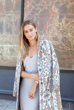 Alessandra Brawn Neidich wearing the Tory Burch Jacquard Coat from our Fall15 collection
