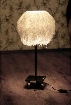 White Wool Yarn Lamp on Wheels by Vitza on Etsy, $290.00