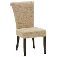 Napolean Script Linen dining chair