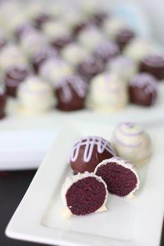 Just decorate to look like soccer balls~ make velvet cake in your team colors!  Purple Velvet Cake Balls - Je suis alimentageuse
