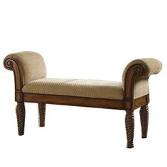Add a classic touch to your entryway or living room with this lovely upholstered bench, featuring rolled arms and a wood frame.  Product...