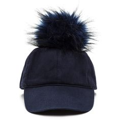 Fluff Up Faux Fur Pom-Pom Cap NAVY ($16) ❤ liked on Polyvore featuring accessories, hats, blue, pom pom baseball hat, ball caps, pom pom baseball cap, blue baseball cap and blue hat