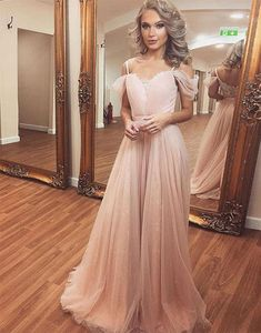 Charming A-Line Off-Shoulder Neck Pink Tulle Chiffon Long
