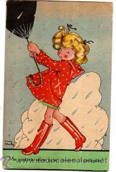 Postal Mari Pepa.  ¡Me gustaría saber quien inventó el paraguas!