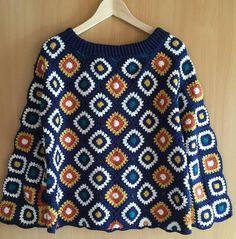 Crochet Squares, Crochet Granny, Knit Crochet, Crochet Jacket Pattern, Crochet Cardigan, Knitting Patterns, Crochet Patterns, Crochet Sunflower, Crochet Clothes