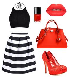 """me and my red"" by anushkaeliaza ❤ liked on Polyvore featuring River Island, Dolce&Gabbana, Coach and Lime Crime"