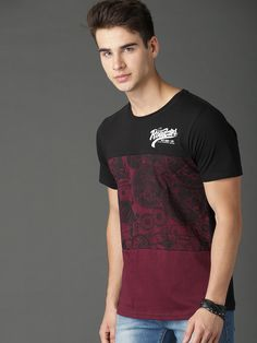 Buy Roadster Men Maroon & Black Printed T Shirt - Tshirts for Men 6720203 Polo Shirt Outfits, Boys T Shirts, Black Print, Printed Shirts, Shirt Designs, Men Casual, Exo Monster, Mens Tops, Man Shirt