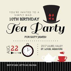 Free Printable Invitations Mad Hatter | Mad hatter tea party invitation printable alice in wonderland Da
