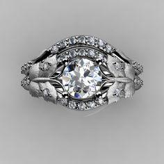 Interesting option....  Nature Inspired 18K White Gold 1.0 CT White Sapphire Diamond Butterfly and Vine Engagement Ring, Wedding Band Set NN117SS-18KWGDWS. $1,849.00, via Etsy.