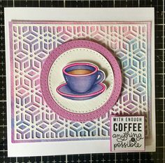 Simon says stamp - Coffee & Tea set with watercoloured background and Sizzix die cut overlay. #ssswchallenge