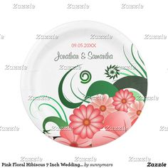 Pink Floral Hibiscus 7 Inch Wedding Paper Plates  sc 1 st  Pinterest & Succulent Watercolor Floral Wedding Paper Plates | Party Paper ...