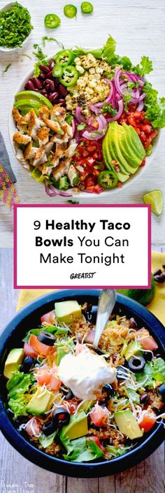 Taco Tuesday gets expensive, so we like to make taco bowls at home. Whether you're vegan or craving beef, one of these healthy taco bowls will make your night. 9 Healthy Taco Bowls for When You Want to Ditch the Shell - Mexican Food Recipes, Vegetarian Recipes, Cooking Recipes, Healthy Recipes, Healthy Meals, Vegetarian Cooking, Mexican Bowl Recipe, Pasta Recipes, Vegetarian Bowl