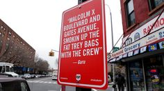 "RIP Guru ""RAP QUOTES"" Signs in New York by Jay Shells"