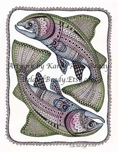 Free Zentangle How To Patterns | ... Ponder: Pisces aka Two Salmon - a new zentangle inspired illustration