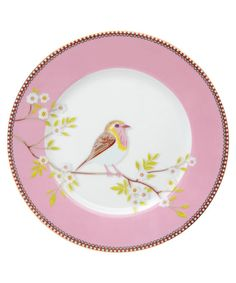 Pink Bird Print Breakfast Plate, PiP Studio
