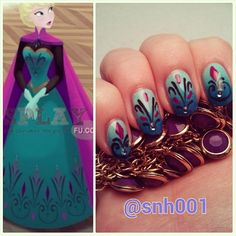 oooo, disney nails inspired by Frozen Elsa's coronation dress. Me likey!