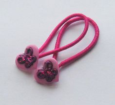 Pink Butterfly Heart Button Ponytail Holders by PrettyPonytails11, $3.50