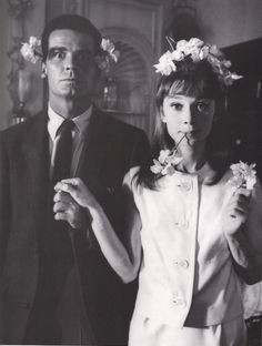audrey hepburn, black and white, boy, flowers, girl, james garner, love, tuxedo