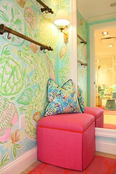 two custom painted canvases, three printed fitting rooms including a Lilly Story Room, an Ocean Reef Toile, and a Vintage inspired alligator print – along with so much more to delight our Ocean Reef customer. We are truly the prettiest store in the Village at Ocean Reef!
