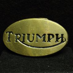 Triumph Logo Oval Brass Belt Buckle - British Racing Motorcycle Cars Union Jack Retro Themed Classic Style Cool Car Theme Styled Clothing on Etsy, $20.00
