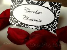 Free printable Damask Folding Food Tent / Place Cards. Perfect for your next bridal shower or dinner party!