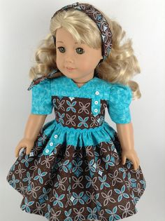 American Girl Doll Clothes - Dress in Turquoise and Chocolate Brown, Petticoat, & Hair Band Sewing Doll Clothes, Girl Doll Clothes, Doll Clothes Patterns, Girl Dolls, Doll Patterns, Ropa American Girl, American Girl Dress, American Doll Clothes, Baby Frocks Designs