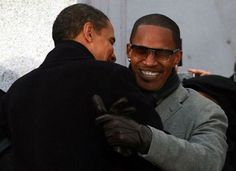 President Barack Obama with actor and singer Jamie Foxx