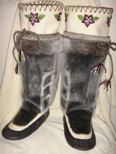 Inuit made women's sealskin kamiks by Meleah Nookiguak SOLD for $1480
