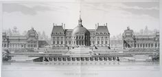 Vaux-le-Vicomte, engraved view of complex from the gardens German Architecture, Neoclassical Architecture, Architecture Drawings, Historical Architecture, Architecture Plan, Luís Xiv, Vaux Le Vicomte, Urban Design Plan, Marquise